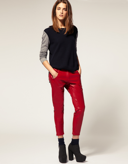 ASOS Red leather peg pants