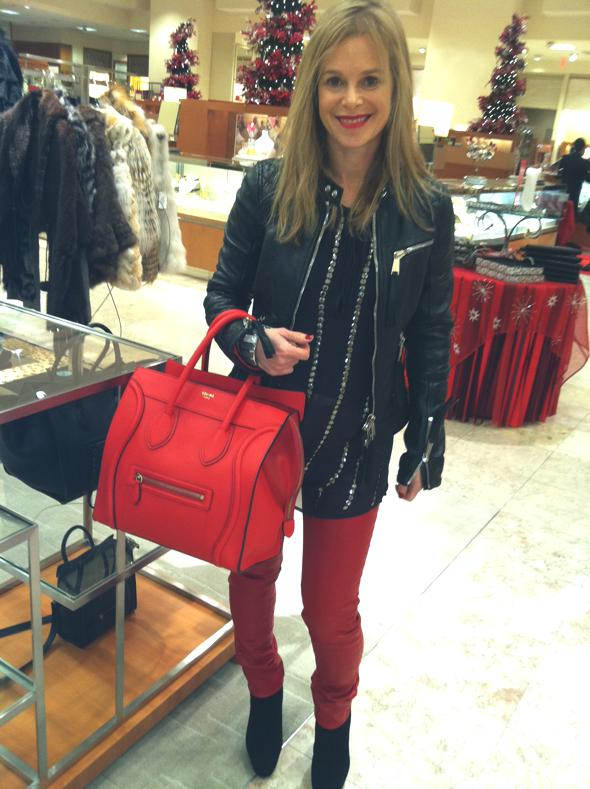 L'agence sheer blouse, J Brand red leather jeans, Dsquared2 leather jacket, suede booties, Celine tote