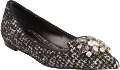dolce-gabbana-black-crystalembellished-tweed-ballet-flat
