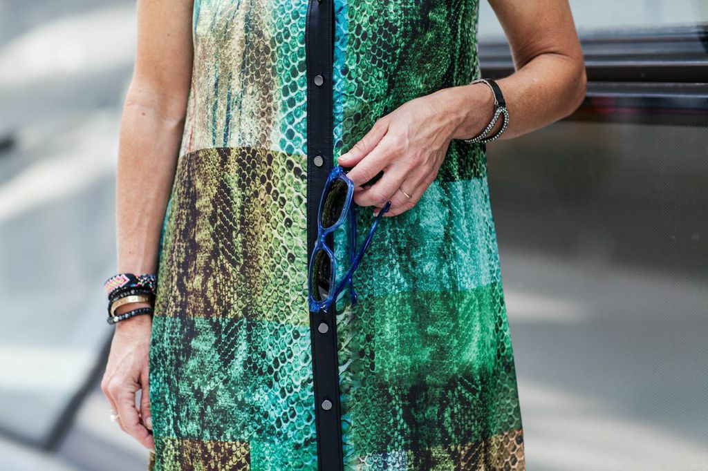 green and blue printed dress