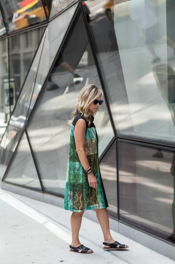 green and blue python dress