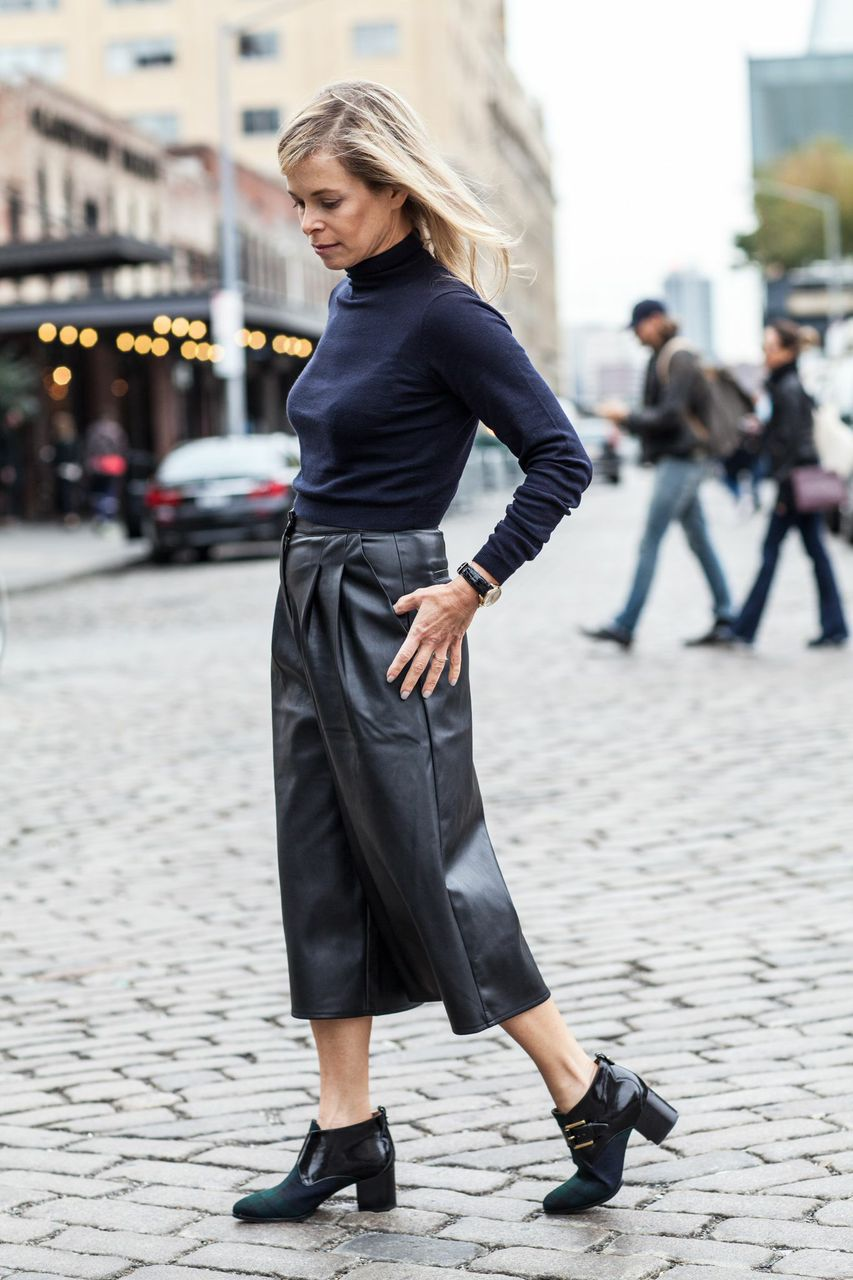 navy turtleneck and leather culottes